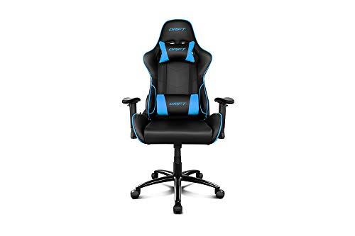 Drift DR125BL - Silla Gaming Profesional, polipiel, reposabrazos ajustable 2D, piston clase 4, asiento basculable, altura regulable, respaldo reclinable, cojines lumbar y cervical, color negro/azul