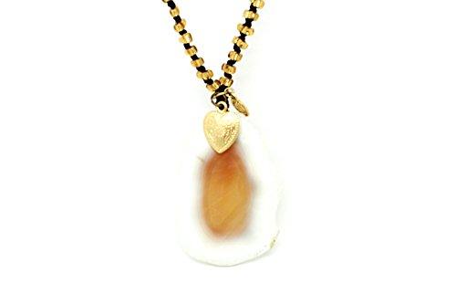 Bernstein Achat Anhänger mit handgewebter Kette mit Jacken und goldenem Herz Halskette lang Damen
