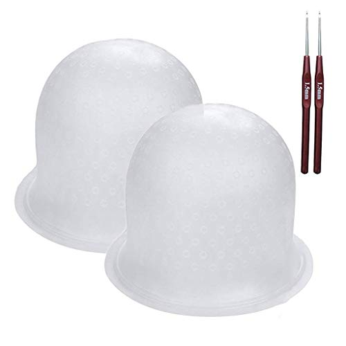 Highlight Caps with Coloring Hair Hook 2 Packs, Frosting Coloring Cap, Professional Salon Silicone Hairdressing Tools