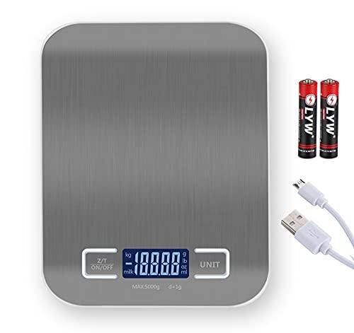Báscula de Cocina Electrónica de Alta Precisión, Báscula Digital de Acero Inoxidable con Función de Tara Utilizada con Baterías y USB, Báscula para Alimentos, 5kg / 1g