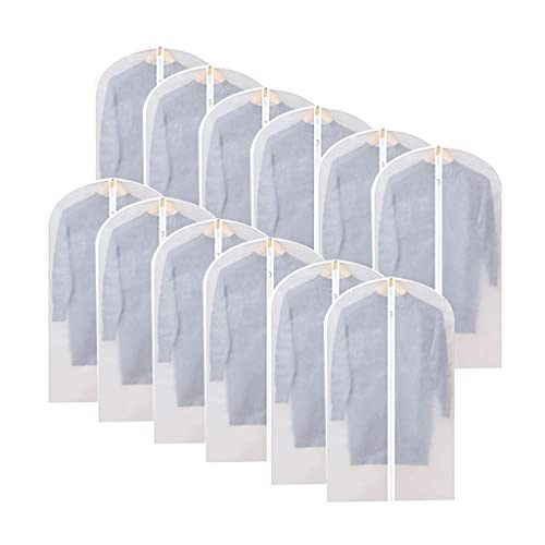 NINGYE Paquete de 12 bolsas para colgar ropa, ligera y transparente, cierre completo para abrigos de invierno, chaquetas y ropa