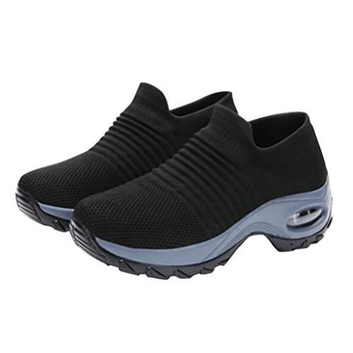 Holibanna Womens Wandelschoenen Wiggen Platform Sneakers Ademen Mesh Slip Op Luchtkussen unning Tennisschoenen voor Dames Outdoor Activiteiten Maat 5 (Zwart)