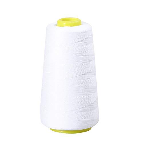 Healifty Filo per Cucire in Poliestere Filo per Bobina per Macchina da Cucire E Ricamare 3000 Iarde (Bianco)