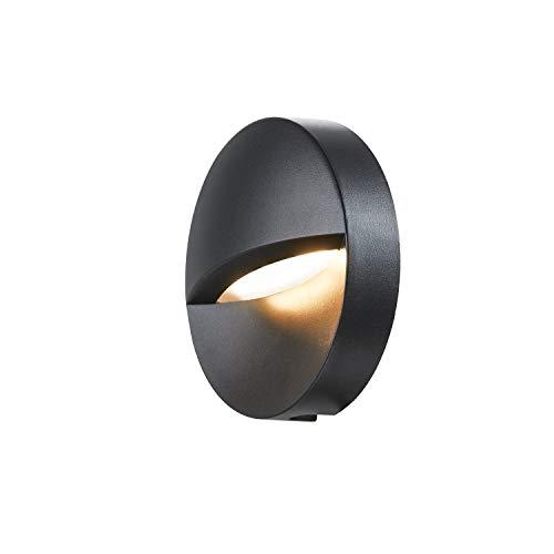 SLV LED Wandleuchte DOWNUNDER OUT ROUND für die Außen-Beleuchtung von Wänden, Wegen, Eingängen, Treppen , LED Treppen-Beleuchtung, Wandlampe, Wegeleuchte / CCT-Switch 3000K/4000K, 140 Lumen, 4,5W