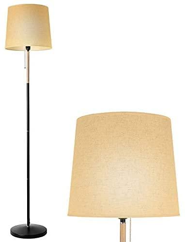 Lampada da Terra, Lampada Terra moderna E27, Lampada con Elegante Paralume in Lino per Soggiorno, Ufficio, Camera da Lett, Alta 170cm, 220-240V,50HZ