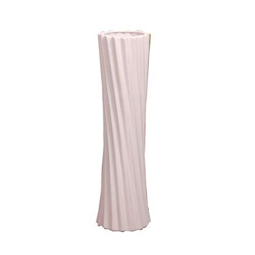 Jarrones 48cm Botella clásico Redondo de cerámica florero de Porcelana Moderna Moda de sobremesa Flor de la decoración de Navidad de Boda jarrón (Color : White, tamaño : Height 48cm)