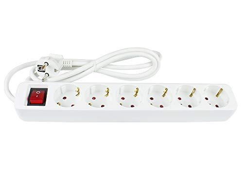 Regleta con Interruptor, 6 enchufes, Enchufe múltiple, Enchufe con protección de Contacto a 6 enchufes de Contacto, protección Infantil, Seguridad Probada (GS), Color Blanco, Cable de 1,5 m