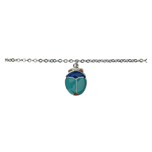 THUN ® - Bracciale - Linea Fortuna - con scarabeo - Ottone rodiato - colorazioni eseguite con Smalto a freddo - 16 + 2 cm