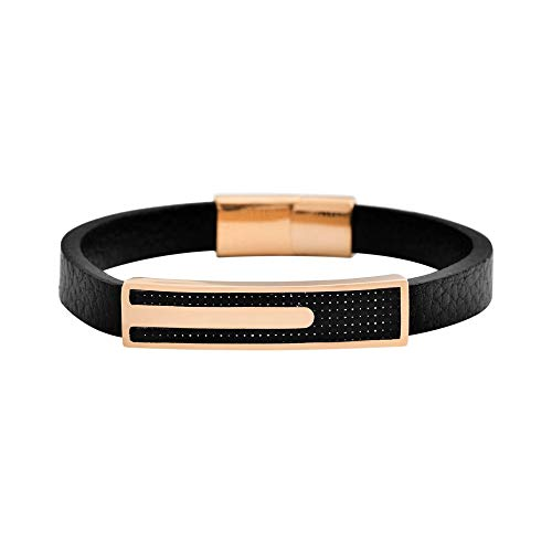 Geoffrey Beene Men's Genuine Leather and Stainless Steel Bracelet with Carbon Fiber ID, Rose Gold