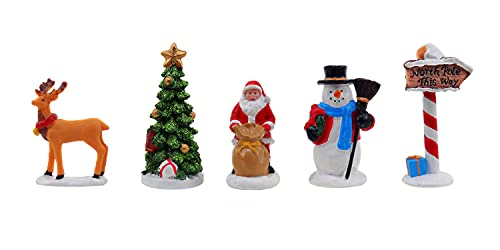 Christmas Village Figurines 5 Piece Decoration Set Perfect Addition to Your Christmas Indoor Decorations & Snow Village Displays (Snow Village Set)