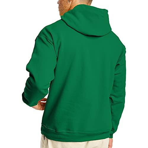 Hanes Men's Pullover EcoSmart Fleece Hooded Sweatshirt, Kelly Green, Large