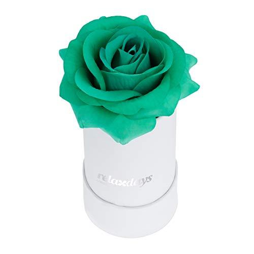 Relaxdays Boîte, 1, Bac à Roses Blanc, Forme en cœur, conservable 10 Ans, Turquoise, Carton, Tissu, PP, Türkis, 13 x 6 x 6 cm