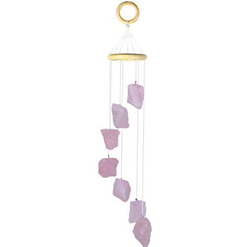 Amogeeli Carillón de viento de cuarzo rosa natural, para jardín, exterior, hecho a mano, para ventanas, decoración del hogar