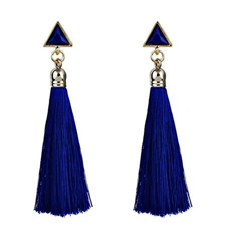 XAOQW Pendientes de Gota de Borla Triangular Largo Bohemio con Encanto de Moda para Mujeres y niñas Fiesta Vintage étnico Multicolor Pendiente joyería Regalos-Azul
