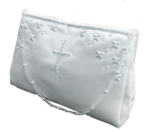 LadyMYP©Kommuniontasche Brautbeutel mit Perlen in Kreuzform für Hochzeit Kommunion weiß NEU