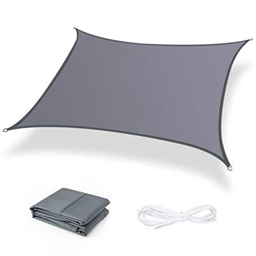 Moboo Sonnensegel Sonnenschutz Sonnendach Balkon Wetterschutz wasserabweisend Winddicht PES 420D 96% UV-Schutz für Garten Outdoor Viereck Rechteck Quadrat Grau