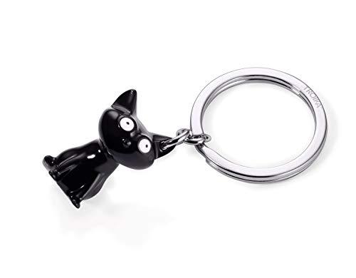 Troika Schlüsselanhänger, Katze, Metallguss, Metallguss/Emaille, verchromt, glänzend, schwarz