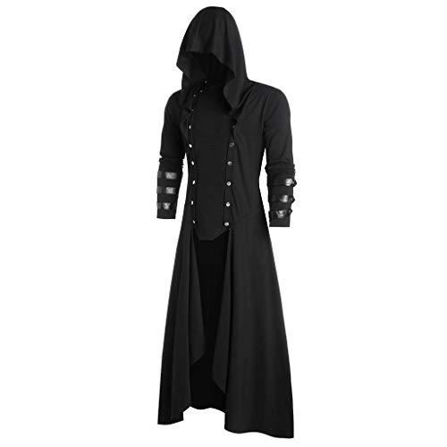 Riou Herren Vintage Frack Steampunk Gothic Jacke Viktorianischen Lange Mantel Halloween Fasching Karneval Cosplay Kostüm
