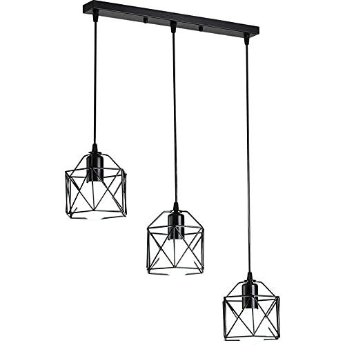 LIUDADA Lámpara de techo vintage con 3 focos, color negro, industrial, de hierro, con casquillo E27, para salón, pasillo, cafetería, cocina, 50 × 120 cm