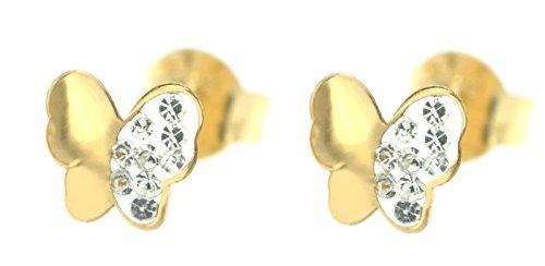 ERC mariposa pendientes con circonita y esmalte, oro amarillo 14k (585/1000)