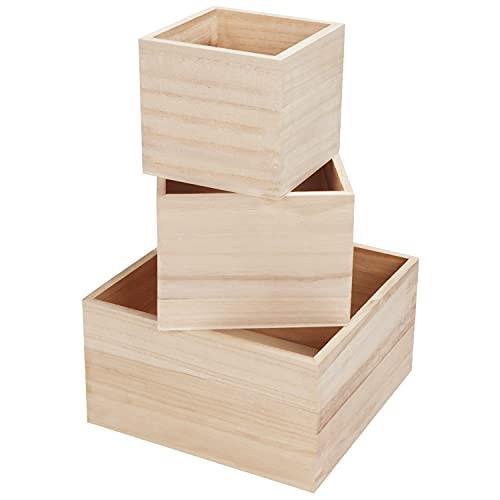 BELLE VOUS Cajas de Madera Sin Acabado (Set de 3) Caja Madera Decorativa Pequeña, Mediana y Grande – Cajas Apilables para Joyas, Suculentas, Suministros Manualidades, Pasatiempos