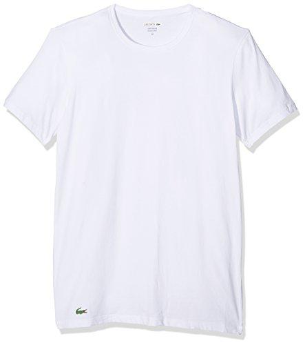Lacoste Underwear Herren C/N Tee (DPK) Unterhemd, Weiß (Weiss 100), Large (Herstellergröße: L) (2er Pack)