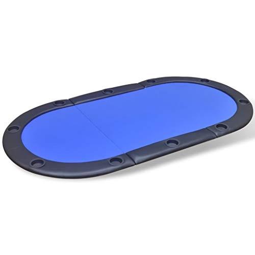Xinglieu pokertafel voor 10 spelers, inklapbaar, blauw, poker- en speeltafels