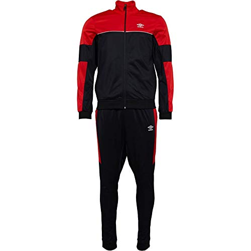 Umbro Herren Trainingsanzug Active Style 2-teiliges Set Full Zip Sweatshirt Jogging Hose Gr. XL, rot