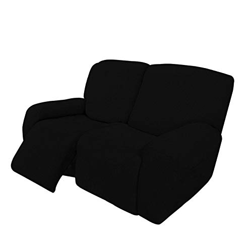HUANXA 2 3 Seater Recliner Stretch Sofa Slipcover Reclining Sofa Cover Non-slip Spandex Furniture Protector Couch Covers With Elastic Bottom-black-Loveseat (6 PCS)