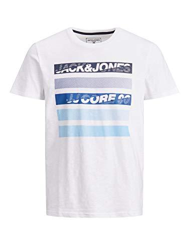 Jack & Jones JCORAIN tee SS Crew Neck Camiseta, Color Blanco, L para Hombre