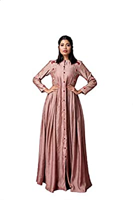 Sonu Bhutia Women's Munga Spun Long Box Pleated Dress (Sbdef037_Dusty Rose_Large)