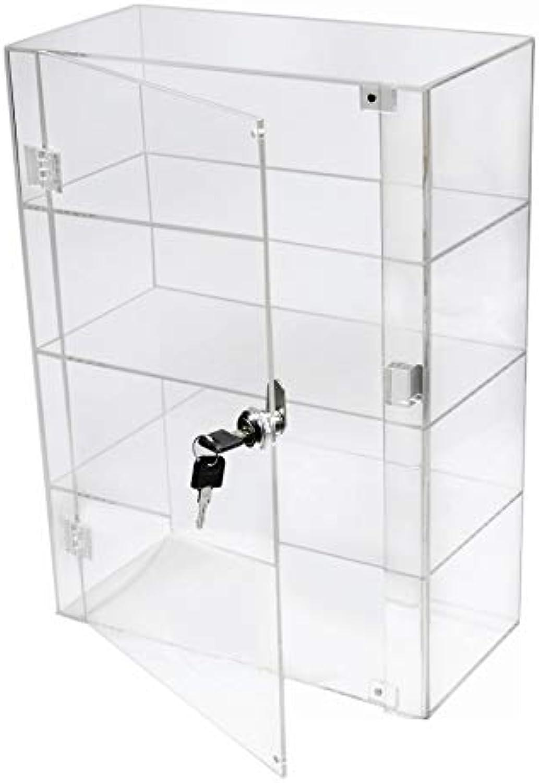 tiendas minoristas PC3721 1 1 1 Vitrina de 3 estantes de acrílico Transparente de Alto Brillo con Puerta Frontal y Cerradura de Seguridad DB089B-08IN  en promociones de estadios
