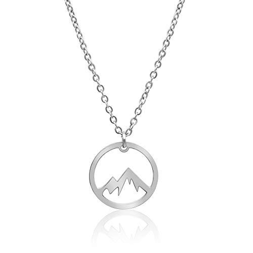 Nuoli® Kette Berge Silber (45 + 5 cm verstellbar) Halskette Damen Silber mit Berg Anhänger aus Edelstahl