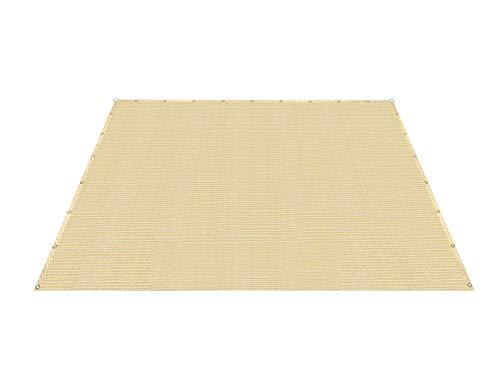 Patio Paradise 12' x 18' Straight Edge Sun Shade Sail, Beige Rectangle Outdoor Shade Cloth Pergola Cover UV Block Fabric - Custom 3 Year Warrenty