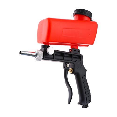 Handheld Druckluft Sandstrahlpistole mit rotes Trichter,Tragbare Sandstrahlpistole,Sandblasting Pneumatic Sandblasting kit tragbare Gravity Gun