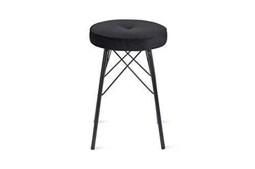 LIFA LIVING Schwarzer Sitzhocker aus Samt und Metall, Runder Polsterhocker im Vintage Design, Samthocker mit schwarzer Metallbasis, Ø 31 x 49 (H) cm