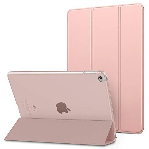 iPad Air 2 ケース Dadanism iPad Air 第2世代 9.7インチ ケース スマートカバー 半透明 三つ折り スタンドケース オートスリープ機能 軽量 薄型 PU+PC マイクロファイバー裏地 耐久性 全面保護 モデル番号:A1566/A1567 Rose Gold