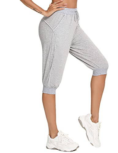 Abollria Capri Yoga Pants for Women Lounge Pants Comfy Drawstring Workout Joggers Pants with Pockets Light Grey
