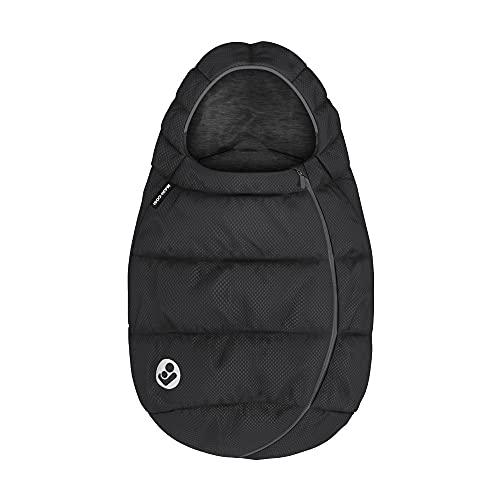 Maxi-Cosi saco para Silla coche Grupo 0+ bebé recién nacido, forrado con felpa y acolchado, mantiene el bebé calido y protigido, color Essential Black (Negro)