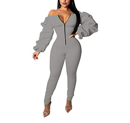 Ophestin Women Ruched Sleeve Tunic Bodycon Long Pants Tight Skinny Cotton Sexy Club Jumpsuits Grey XXL
