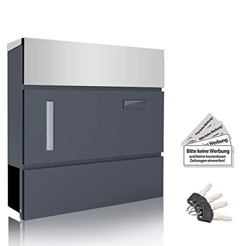 Bernice Briefkasten Edelstahl Anthrazit mit Zeitungsfach, Namensschild, Sichtfenster, A4 Einwurf-Format Wandbriefkasten mit Hydraulikstange, inkl. 4 Schlüssel 37cm x 10, 5cm x 36,5cm
