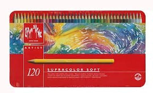Caran d-Ache SupraFarbe Beh er mit 120 rbstifte + Pastell WeißPrismalo