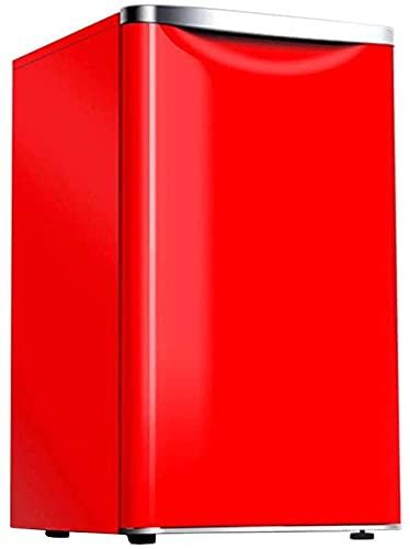 Bajo nivel de ruido 72L pequeño refrigerador bajo encimera doméstico, un botón de descongelación y temperatura ajustable 8L congelador suave, -Rojo