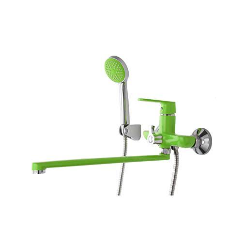 TAN Juego de grifos de Ducha Expuestos Latón Tipo Giratorio Fijo sin Barra Deslizante Montado en la Pared,Verde