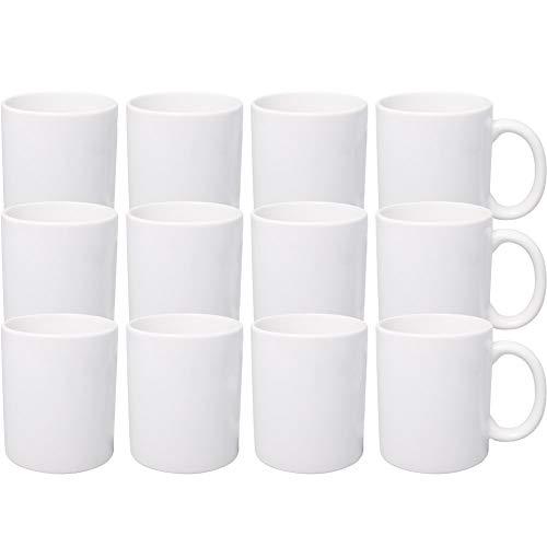 Werbewas Kaffeebecher, weiß, 12er Set - 300ml Keramik Kaffeetassen ohne Druck zum bemalen und basteln geeignet - Simple Becher zum Personalisieren - Tassen/Pott für Kaffee, Tee und mehr