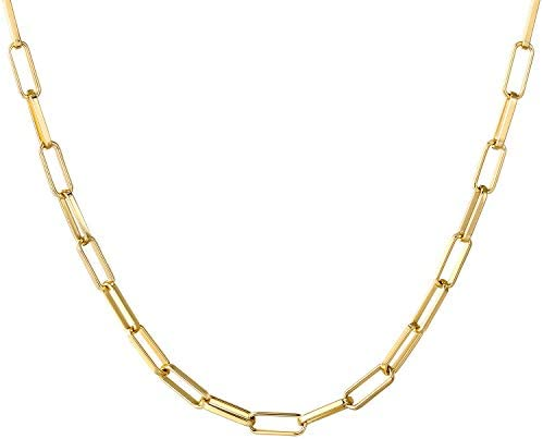 14K Gold Dainty Paperclip Link Chain Necklace for Women Girls product image