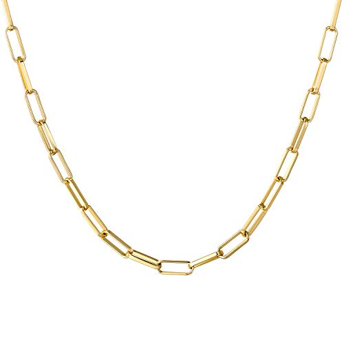 BOUTIQUELOVIN 14K Gold Dainty Paperclip Link Chain Necklace for Women Girls