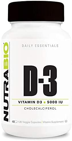 NutraBio Vitamin D Max 60% OFF 5000 IU 1 year warranty Immune Cap 120 Support - Vegetable