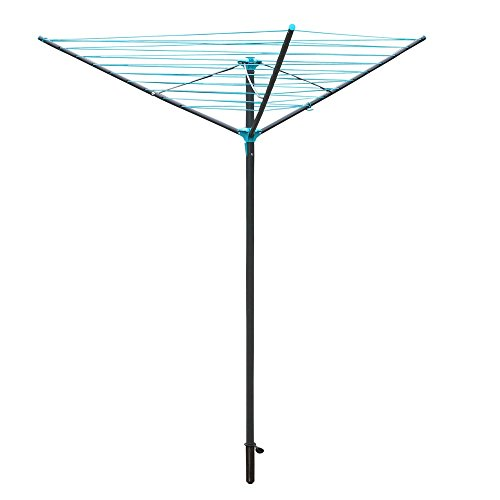 JVL 30 m Compact and Robust 3-Arm Steel Rotary Clothes Airer Drier, Green by JVL