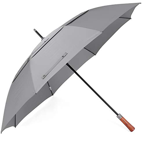 ZEKAR Wooden Handle Windproof Large Golf Umbrella, 300T Excellent Fabric Stick Umbrellas Automatic Open for Men Women